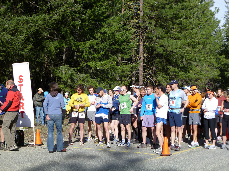 Fast dudes at the start.  The guy in the blue and grey jacket with the black hat ran the whole marathon in 2:55!