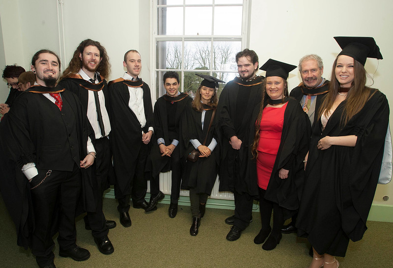 Pictured are Christopher Phelan, Waterford, Gary Kinneally, Waterford, Aaron Kirk, Waterford, Fergus Mulligan, Kildare, Helen Ivashchenko, Tramore, Richard Phelan, Waterford,  Michelle Phelan, Waterford, Patrick McArdle, Waterford, Rachel Carew, Tipperary who  graduated in Bachelor of Arts (Hons) Visual Arts. Picture: Patrick Browne