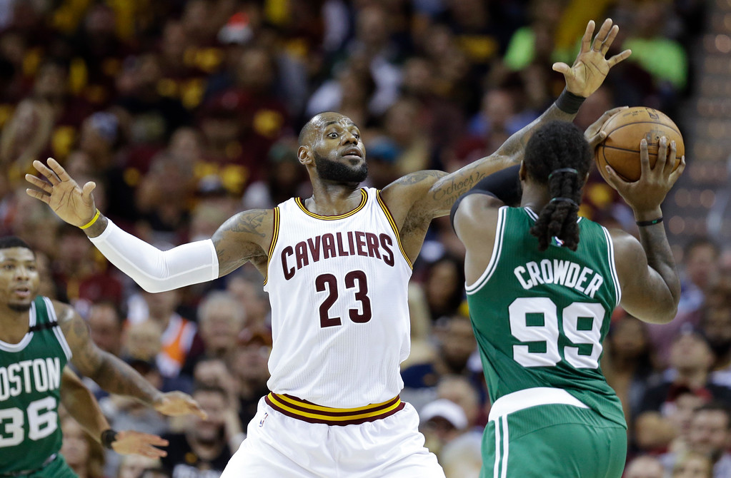 . Cleveland Cavaliers\' LeBron James (23) defends against Boston Celtics\' Jae Crowder (99) during the second half of Game 3 of the NBA basketball Eastern Conference finals, Sunday, May 21, 2017, in Cleveland. (AP Photo/Tony Dejak)