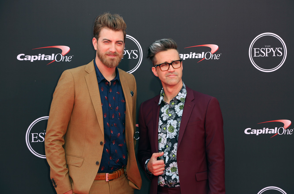 . Rhett and Link arrive at the ESPY Awards at Microsoft Theater on Wednesday, July 18, 2018, in Los Angeles. (Photo by Willy Sanjuan/Invision/AP)