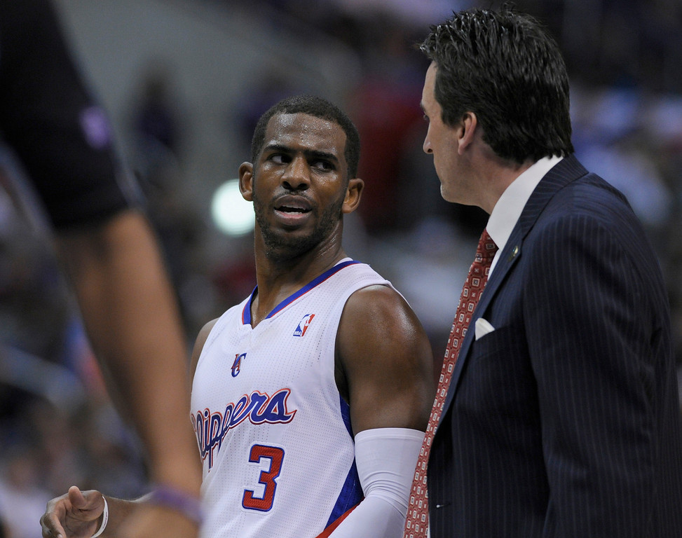 . Chris Paul talks to Vinny Del Negro. The Clippers defeated the Minnesota Timberwolves 111-95 in a game played at Staples Center in Los Angeles, CA 4/10/2013(John McCoy/Staff Photographer