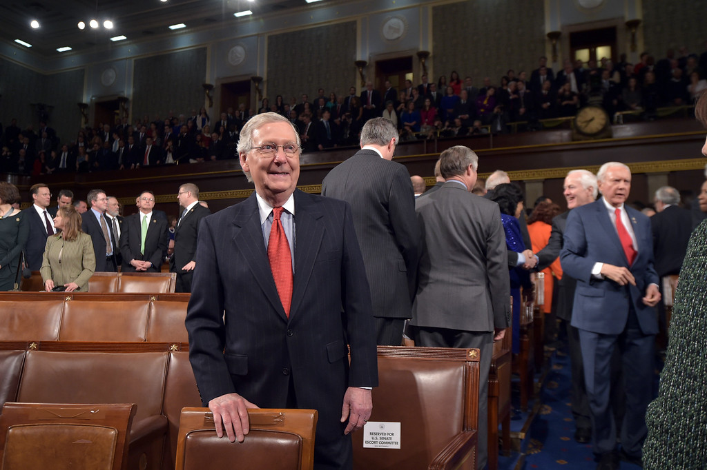 . Senate Majority Leader Mitch McConnell waits for the start of the State of the Union address by President Barack Obama Tuesday, Jan. 20, 2015, in the House Chamber of the U.S. Capitol in Washington. (AP Photo/Mandel Ngan, Pool)