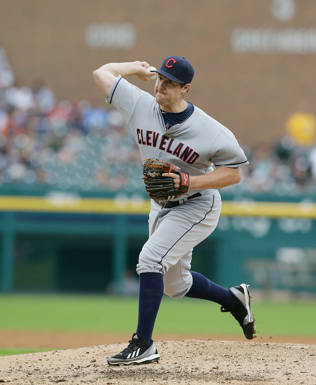 . Cleveland Indians relief pitcher Bryan Shaw throws during the ninth inning in the first baseball game of a doubleheader against the Detroit Tigers, Saturday, July 19, 2014 in Detroit. (AP Photo/Carlos Osorio)