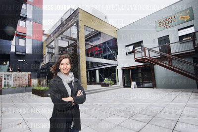 Developer Liz Dunn is pictured at her under-construction Chophouse Row located in the Capitol Hill neighborhood of Seattle, Washington