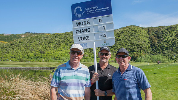 Peter Garty, Mark Thomson and John Shewan by the 4th green on the 3rd day of competition  in the Asia-Pacific Amateur Championship tournament 2017 held at Royal Wellington Golf Club, in Heretaunga, Upper Hutt, New Zealand from 26 - 29 October 2017. Copyright John Mathews 2017.   www.megasportmedia.co.nz