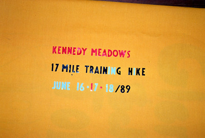 6/16/1989 ~ 6/18/1989 - Kennedy Meadow Hike