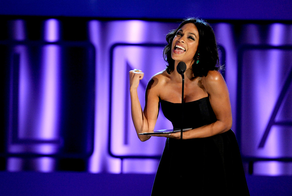 . Rosario Dawson speaks on stage at the NCLR ALMA Awards at the Pasadena Civic Auditorium on Friday, Sept. 27, 2013, in Pasadena, Calif. (Photo by Chris Pizzello/Invision/AP)