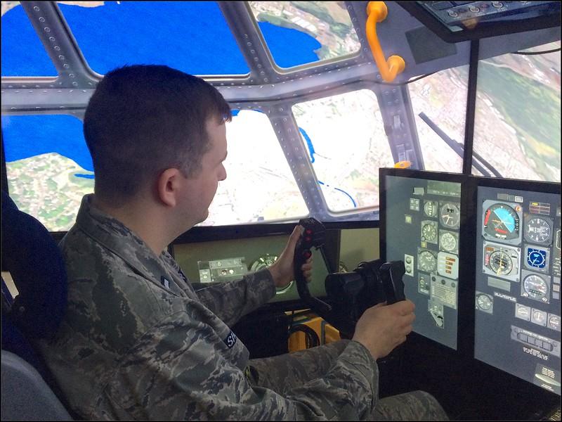 1st Lt Justin Shirkey in the C-130 simulator