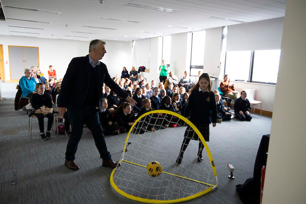 "FREE TO USE IMAGE. Pictured during Science Week with WIT (Waterford Institute of Technology) by Calmast. Pictured at Carrickphierish Library with James Soper's show ""Bend It Like Beckham"". Picture: Patrick Browne"