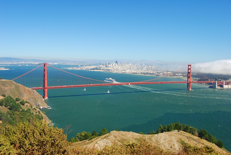 The Golden Gate Bridge, and no one standing in front of it.
