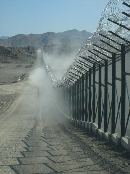 The border fence between the UAE and Oman.