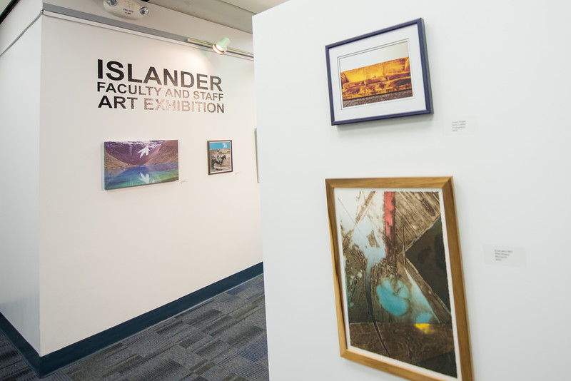 The latest exhibit at the Mary and Jeff Bell Library showcases art pieces by university faculty and staff and will be on display through June 25.
