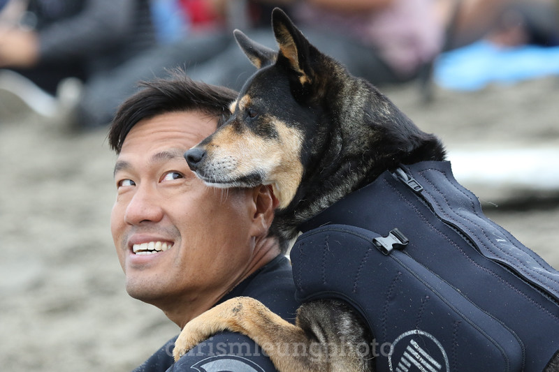 8/5/17: Abbie the Surf Dog and her human, Michael Uy at the 2017 World Dog Surfing Championships at Pacifica State Beach in Pacifica, Ca by Chris M. Leung