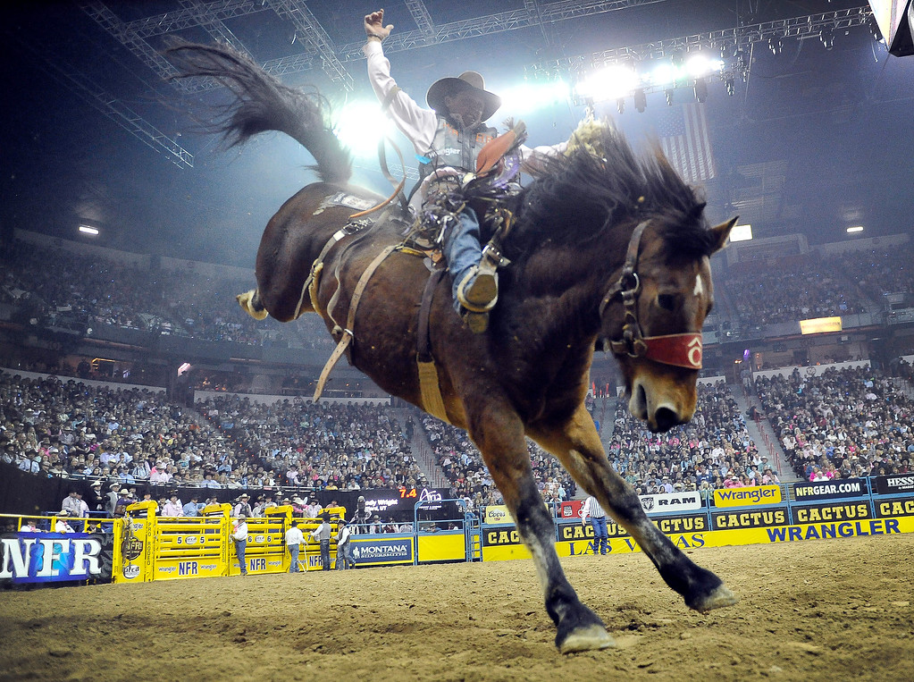. Cody Wright of Milford, Utah competes in the saddle bronc riding during the fifth go-round of the National Finals Rodeo at the Thomas & Mack Center on Monday, Dec. 8, 2014, in Las Vegas. (AP Photo/Las Vegas Review Journal, David Becker)