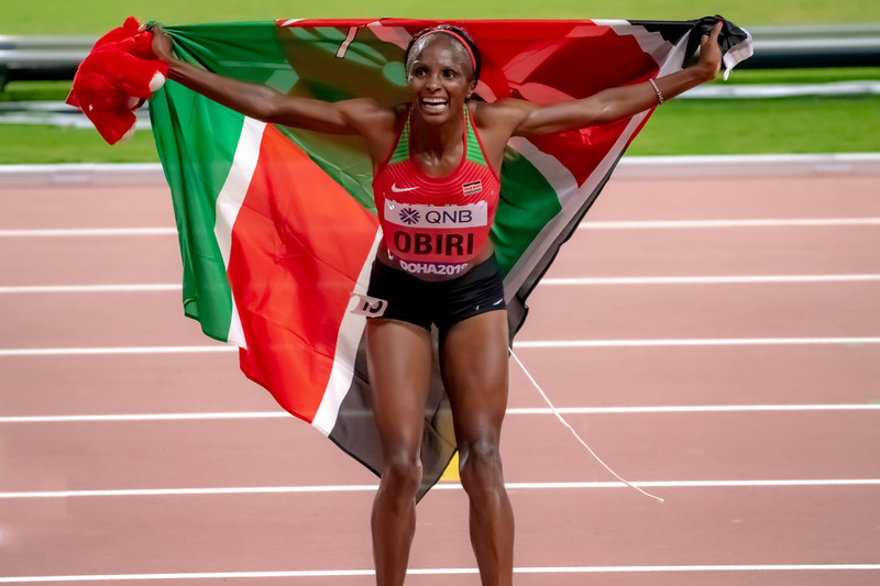 Hellen Obiri of Kenya celebrates after winning gold in the Women's 5000 metres final during day nine of 17th IAAF World Athletics Championships Doha 2019 at Khalifa International Stadium on October 05, 2019 in Doha, Qatar. Photo by Tom Kirkwood/SportDXB