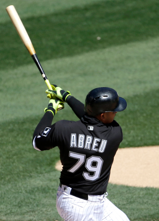 . Chicago White Sox\'s Jose Abreu hits a solo home run during the third inning of a baseball game against the Cleveland Indians, Saturday, April 9, 2016, in Chicago. (AP Photo/Nam Y. Huh)