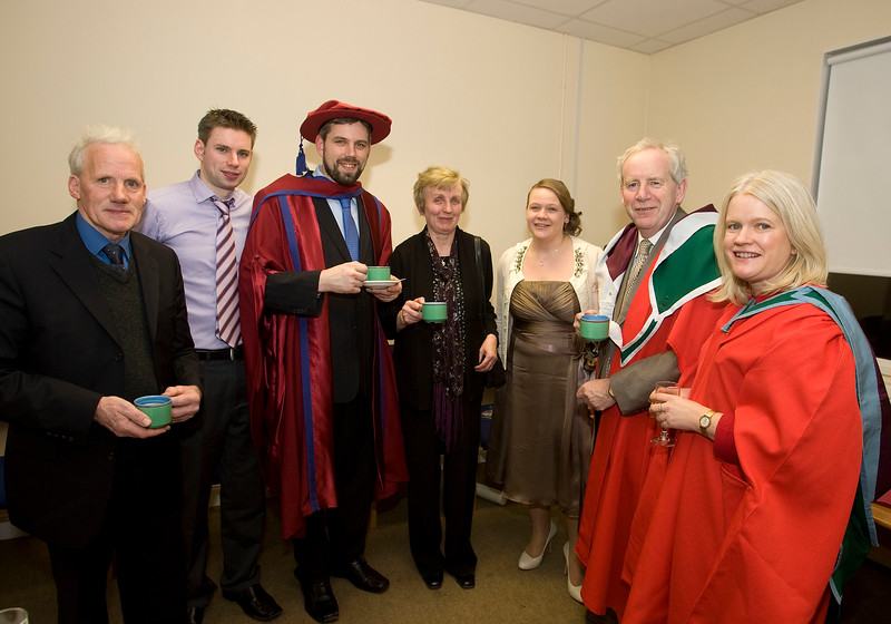 5/1/2012. News. Free to use image. Waterford Institute of Technology (WIT) Graduation. Pictured 3rd from left is Richie Ryan who was conferred a Doctor of Philosophy, also pictured is Ned and Willie Ryan, Helena Ryan, Marlene Stdeckler, Joe Power WIT and Shelia Donegan WIT. Photo Patrick Browne