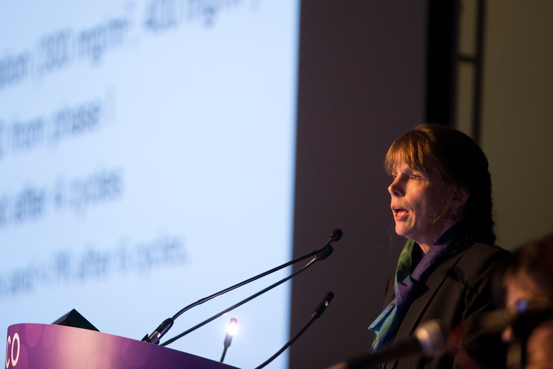 Martha Lacy, MD, presents Abstract 8002 during Hematologic Malignancies?Plasma Cell Dyscrasia Oral Abstract Session