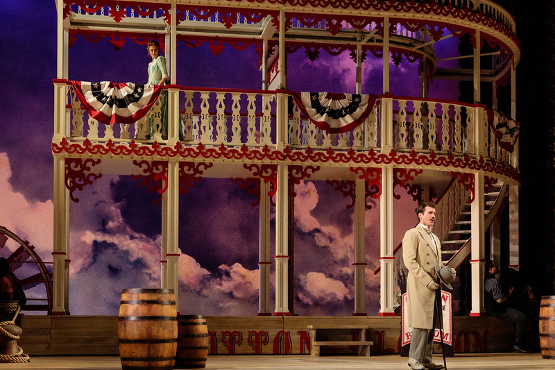 """Lauren Snouffer as Magnolia Hawks and Michael Adams in Gaylord Ravenal in The Glimmerglass Festival's 2019 production of """"Show Boat."""" Photo Credit: Karli Cadel/The Glimmerglass Festival"""