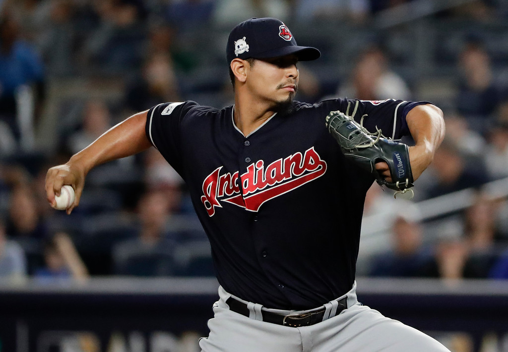 . Cleveland Indians pitcher Carlos Carrasco (59) delivers against the New York Yankees during the first inning in Game 3 of baseball\'s American League Division Series, Sunday, Oct. 8, 2017, in New York. (AP Photo/Frank Franklin II)