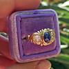 1.75ctw Cab Sapphire and Old European Cut Diamond 3-stone Ring 13