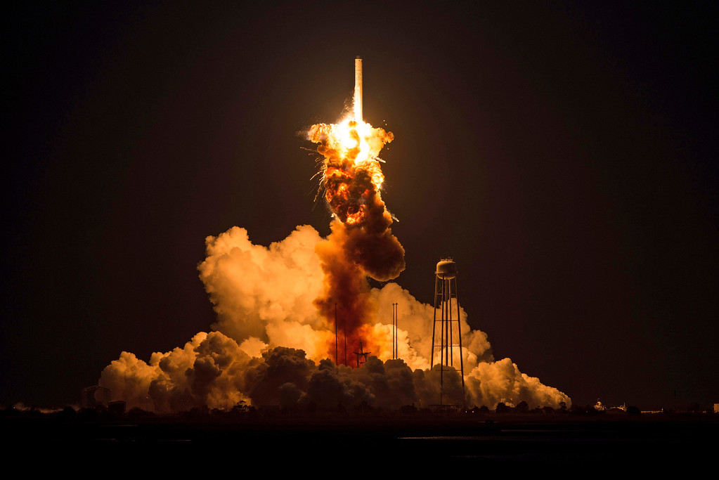 . This image provided by NASA shows the Orbital Sciences Corporation Antares rocket, with the Cygnus spacecraft onboard, as it suffers a catastrophic anomaly moments after launch from the Mid-Atlantic Regional Spaceport Pad 0A, Tuesday, Oct. 28, 2014, at NASA\'s Wallops Flight Facility in Virginia. The Cygnus spacecraft was filled with about 5,000 pounds of supplies slated for the International Space Station, including science experiments, experiment hardware, spare parts, and crew provisions. (AP Photo/NASA, Joel Kowsky)