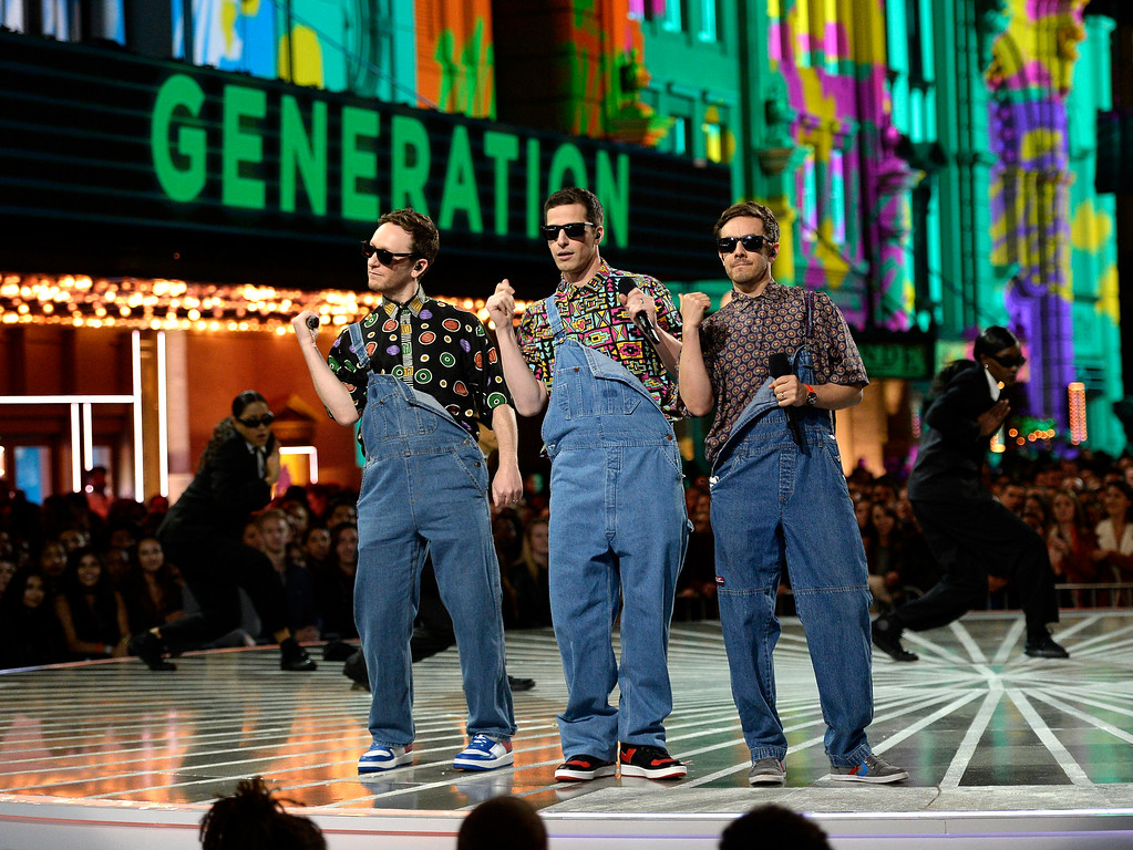 . Akiva Schaffer, Andy Samberg, and Jorma Taccone, of Lonely Island, perform a tribute to generation award winner Will Smith at the MTV Movie Awards at Warner Bros. Studio on Saturday, April 9, 2016, in Burbank, Calif. (Kevork Djansezian/Pool Photo via AP)