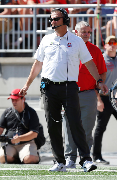 . Ohio State head coach Urban Meyer watches from the sideline against UNLV during the first half of an NCAA college football game Saturday, Sept. 23, 2017, in Columbus, Ohio. (AP Photo/Jay LaPrete)