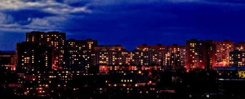 Chisinau's buildings by night