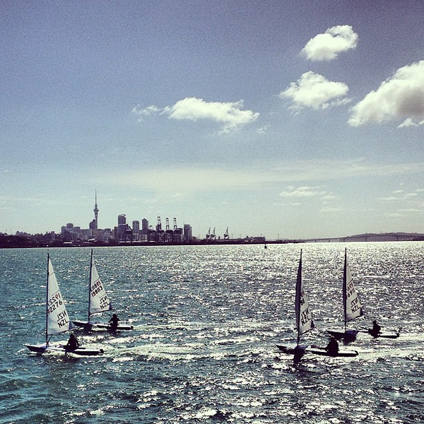 One-man sails, Okahu Bay, #Auckland skyline #gadv #dna2nz