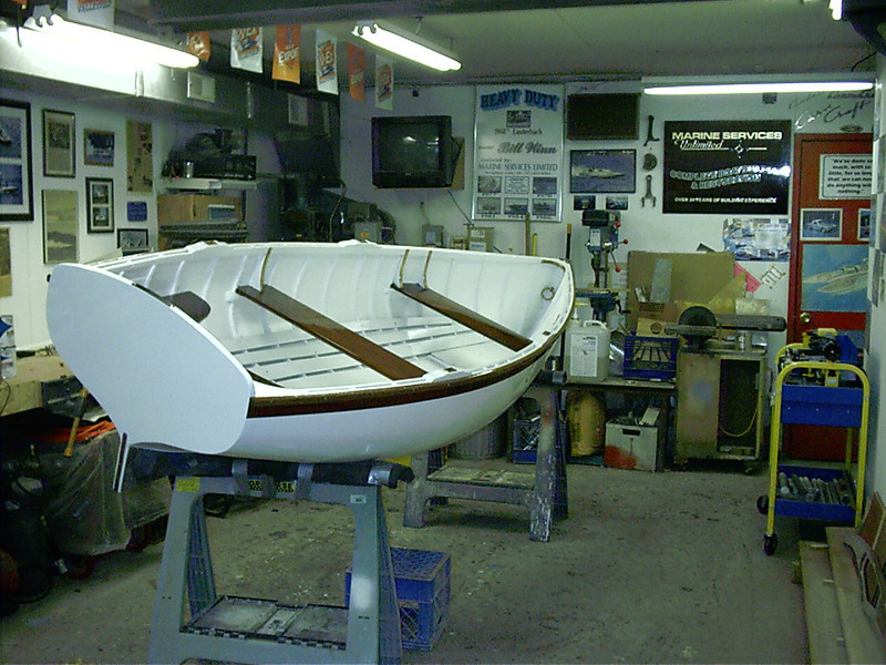Starboard rear view of finished hull.