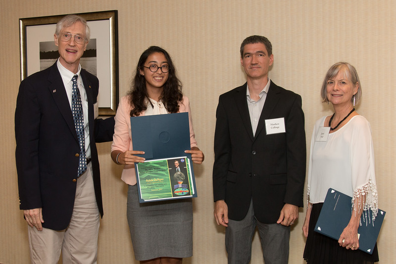 "Awardee Natalie DeNigris  with John Mather, Matthew Collinge (Maryland Space Grant Consortium), and Janie Nall (GSFC) -- An award luncheon, ""Dr. John Mather Nobel Scholars Program Award"", as part of the National Council of Space Grant Directors and the Maryland Space Grant Consortium, Greenbelt, MD July 28, 2017"