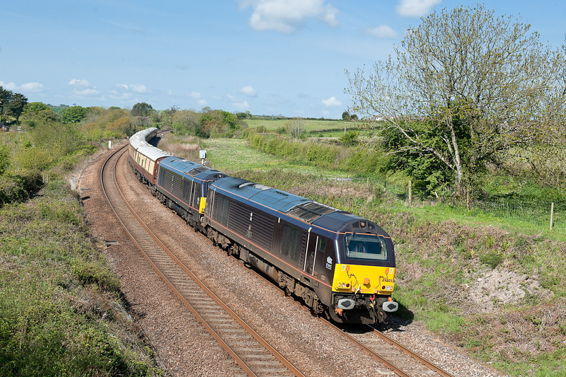 67005 and 67006 on 5Z87 0939 Truro-Plymouth ECS