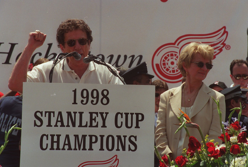 . Detroit Red Wings team owner Mike Ilitch and wife Marian talk during tyhe rally at Hart Plaza after the Stanley Cup parade in downtown Detroit.
