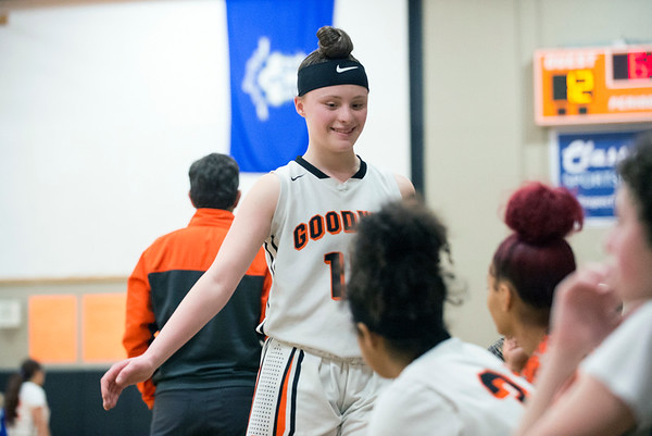 01/31/20 Wesley Bunnell | StaffrrE.C. Goodwin girls basketball defeated Grasso Tech on Friday January 31, 2020 at home. Megan Lukaszewski (15) is greeted by teammates on the bench.