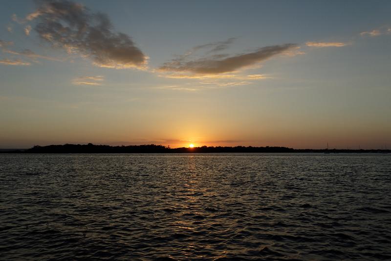 Orange cumulus sunset Seascape. Australia