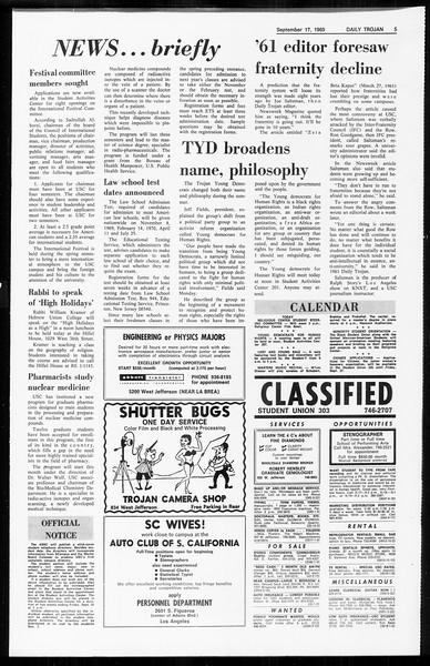 Daily Trojan, Vol. 61, No. 3, September 17, 1969