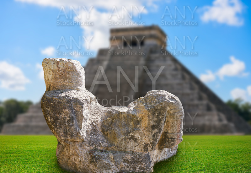 Chichen Itza Chac Mool sculpture illustration