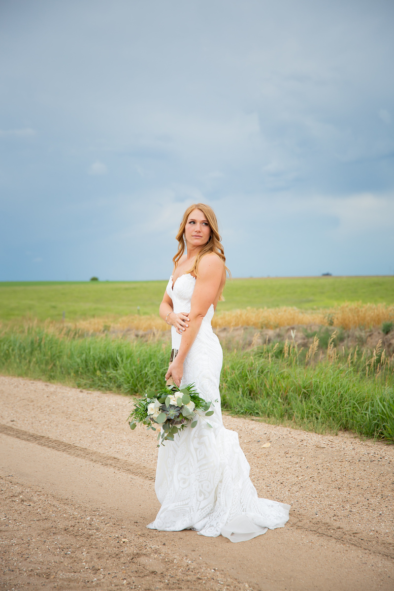 Bride takes western style photo