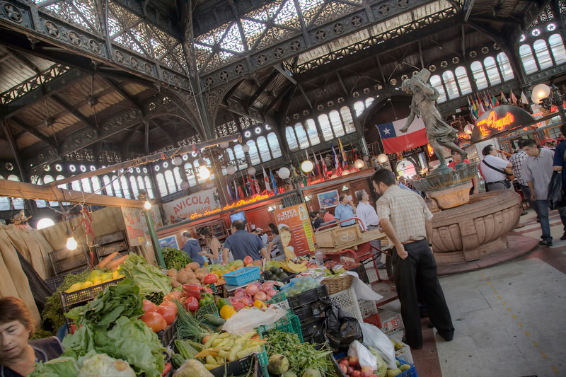 Produce, fish, and more are on sale in Mercado Central (Central Market) in Santiago, Chile. (HDR)