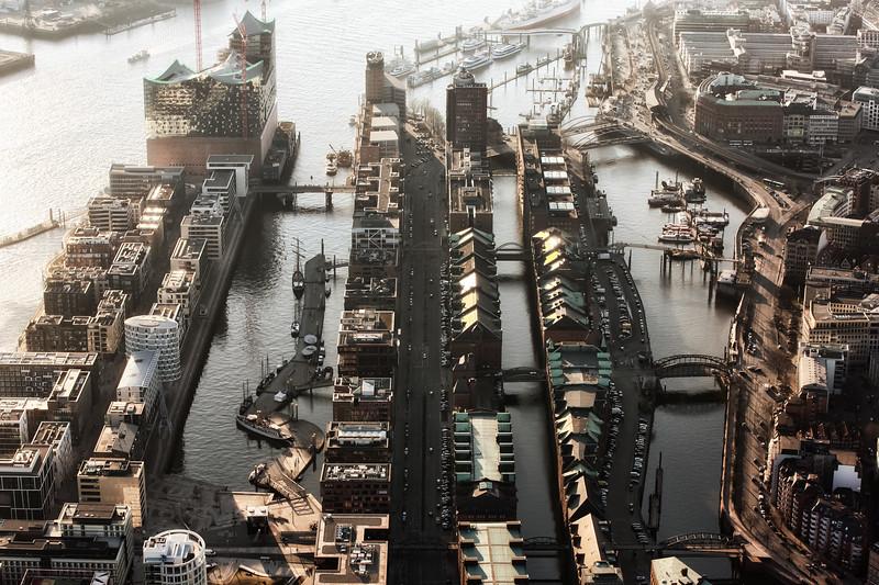 Luftbild HafenCity und Speicherstadt