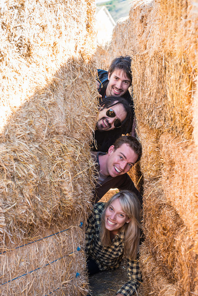 Hiding behind the secret door in the corn maze