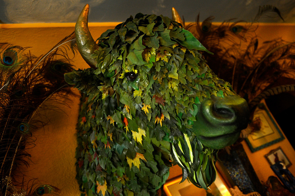 . Edgewater, CO. - January 28:  The Green Buffalo hangs on the wall of artist Dede LaRue in her home studio in Edgewater, Colorado. January 28, 2013. (Photo By Joe Amon / The Denver Post)