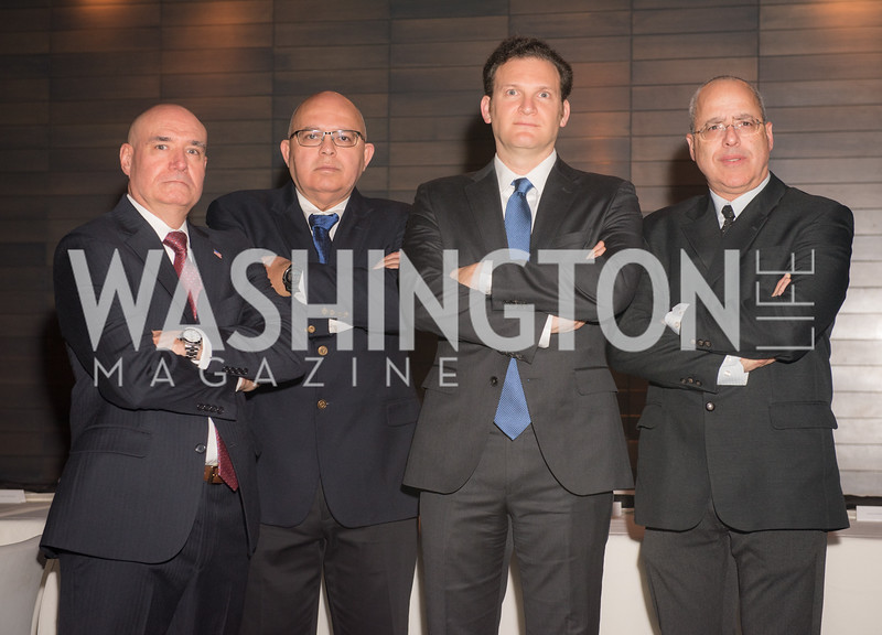 Michael Guditus, Joseph Semandar, Yisroel Stefansky, Rami Savir, AIPAC Dinner, Advanced Security Training Institute, Hosted by Martha Boneta, March 24, 2019, Photo by Ben Droz.