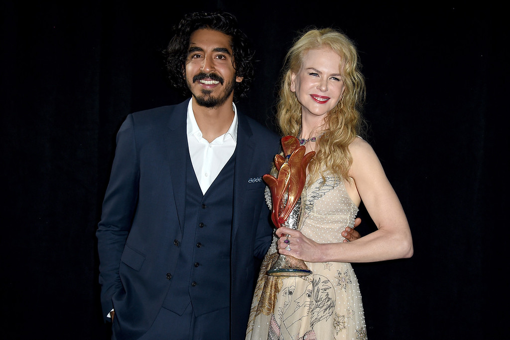 ". Nicole Kidman, winner of the international star award for ""Lion,\"" and presenter Dev Patel pose backstage at the 28th annual Palm Springs International Film Festival Awards Gala on Monday, Jan. 2, 2017, in Palm Springs, Calif. (Photo by Jordan Strauss/Invision/AP)"