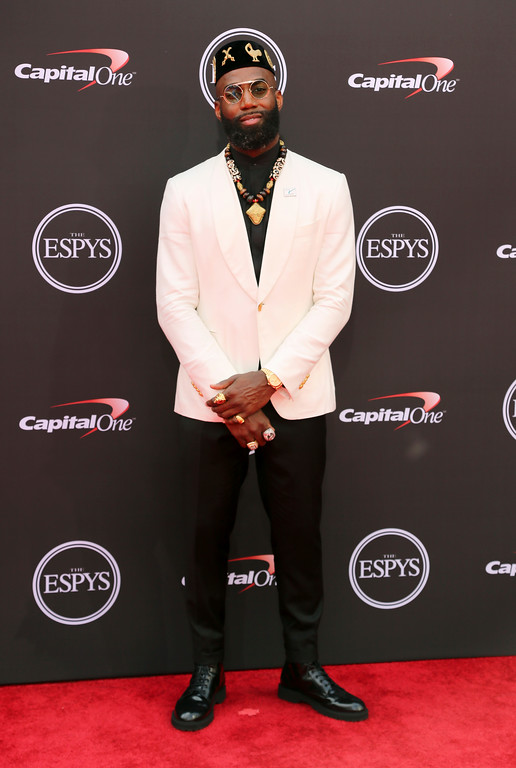 . Philadelphia Eagles\' Malcolm Jenkins arrives at the ESPY Awards at Microsoft Theater on Wednesday, July 18, 2018, in Los Angeles. (Photo by Willy Sanjuan/Invision/AP)