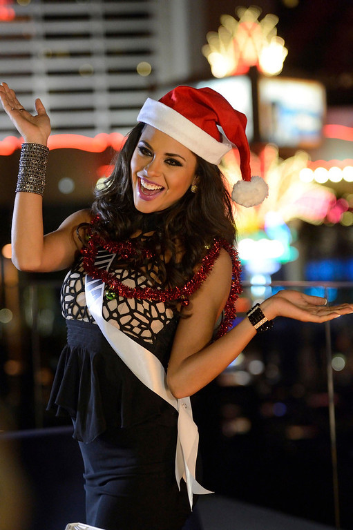 . Miss Bolivia Yessica Mouton sings at Caesar\'s Pure Nightclub for a TV spot shoot in Las Vegas, Nevada December 11, 2012.  89 Contestants will compete for the coveted Miss Universe Diamond Nexus Labs Crown. REUTERS/ Matt Brown/Miss Universe Organization/Handout