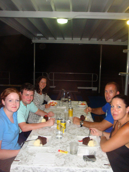 A vegan al fresco dinner was cooked for us by our host, who also provided non-vegan options for the other guests. Knowing we were the only six guests in the world staying on the reef that night, we felt incredibly privileged. We were 'entertained' by the racing and splashing of hunting fish and their prey attracted to the lights of the pontoon at night. We even saw a 5 foot shark. One fish leapt 3 m clear of the water. Occasional bursts of fluorescence were also visible.