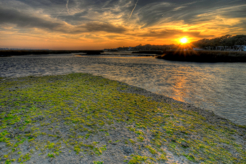 Sunset across the marshes in Garden City Beach, SC on Thursday, February 23, 2012. Copyright 2012 Jason Barnette
