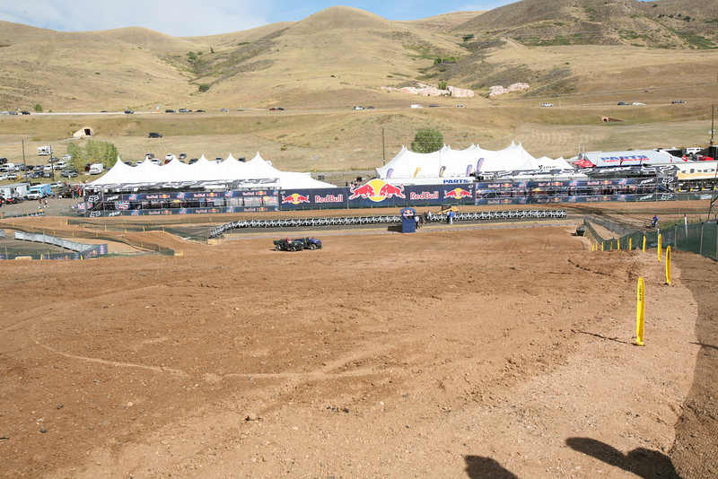 Looking down to the starting gate